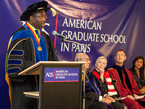 Dr. Steve Michael, provost of Arcadia University, speaks at the AGS commencement ceremony.