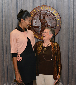 From left to right: Sharron Cooks '17, recipient of the Marie T. Gallagher Endowed Scholarship, and Marie Gallagher '95.