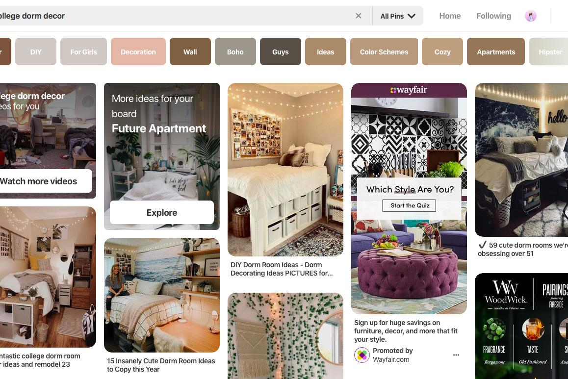 Screenshot of a Pinterest search for room decor ideas.