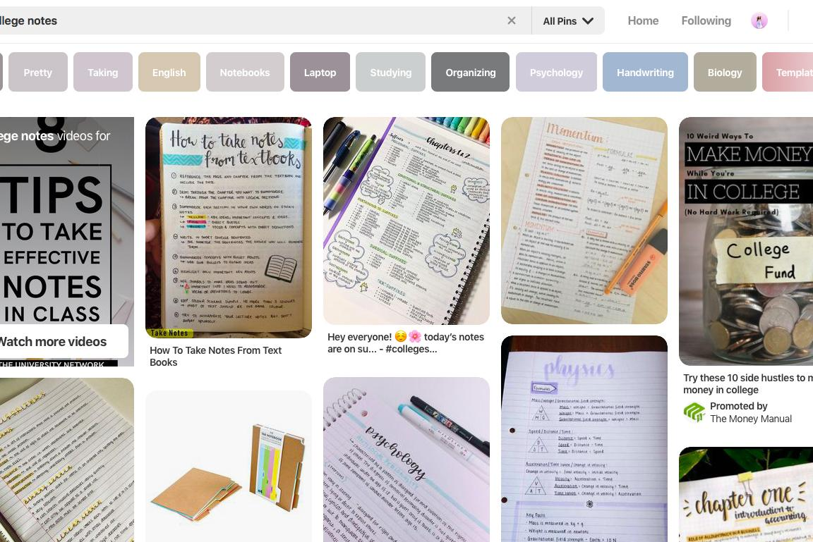 Screenshot of a Pinterest search for note taking tips.