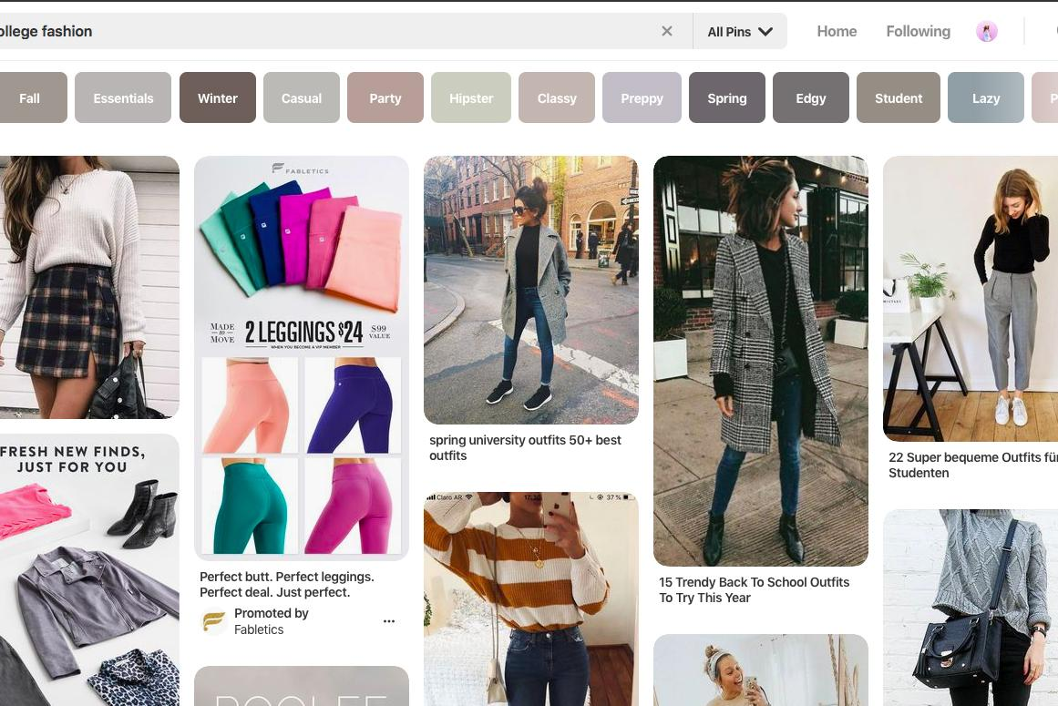Screenshot of Pinterest search for style ideas.