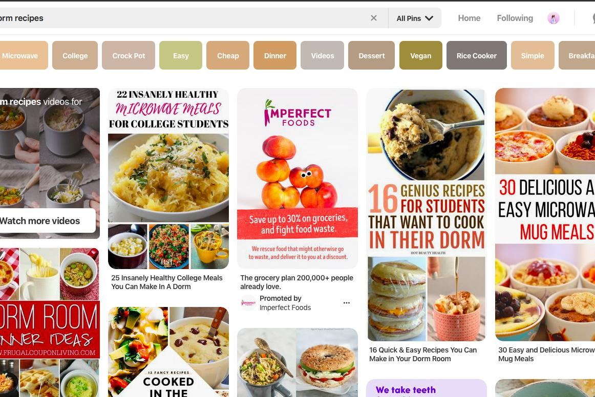 Screen shot of a search for recipe ideas on Pinterest.