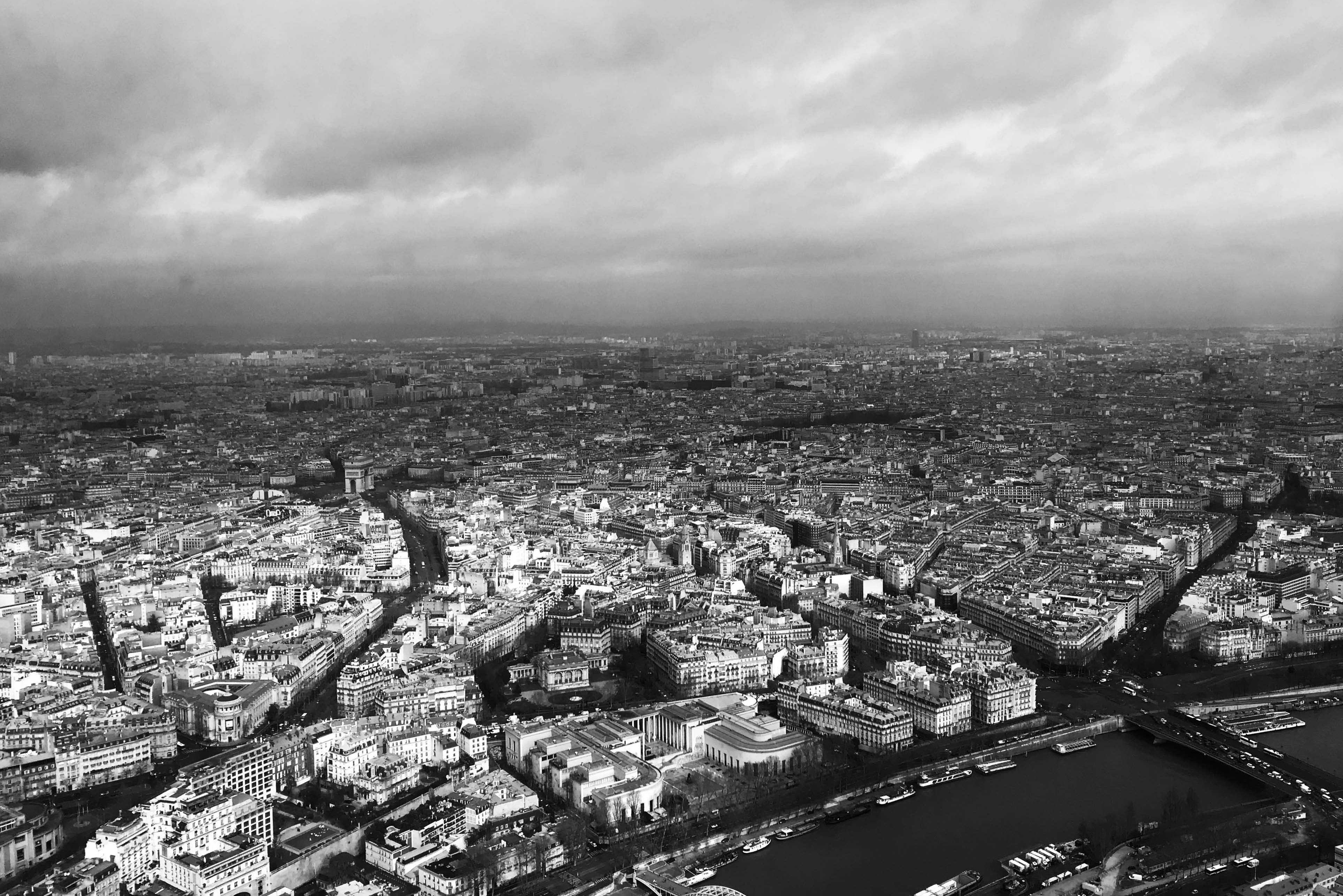 View of the city of paris from the top of the Eiffel Tower.
