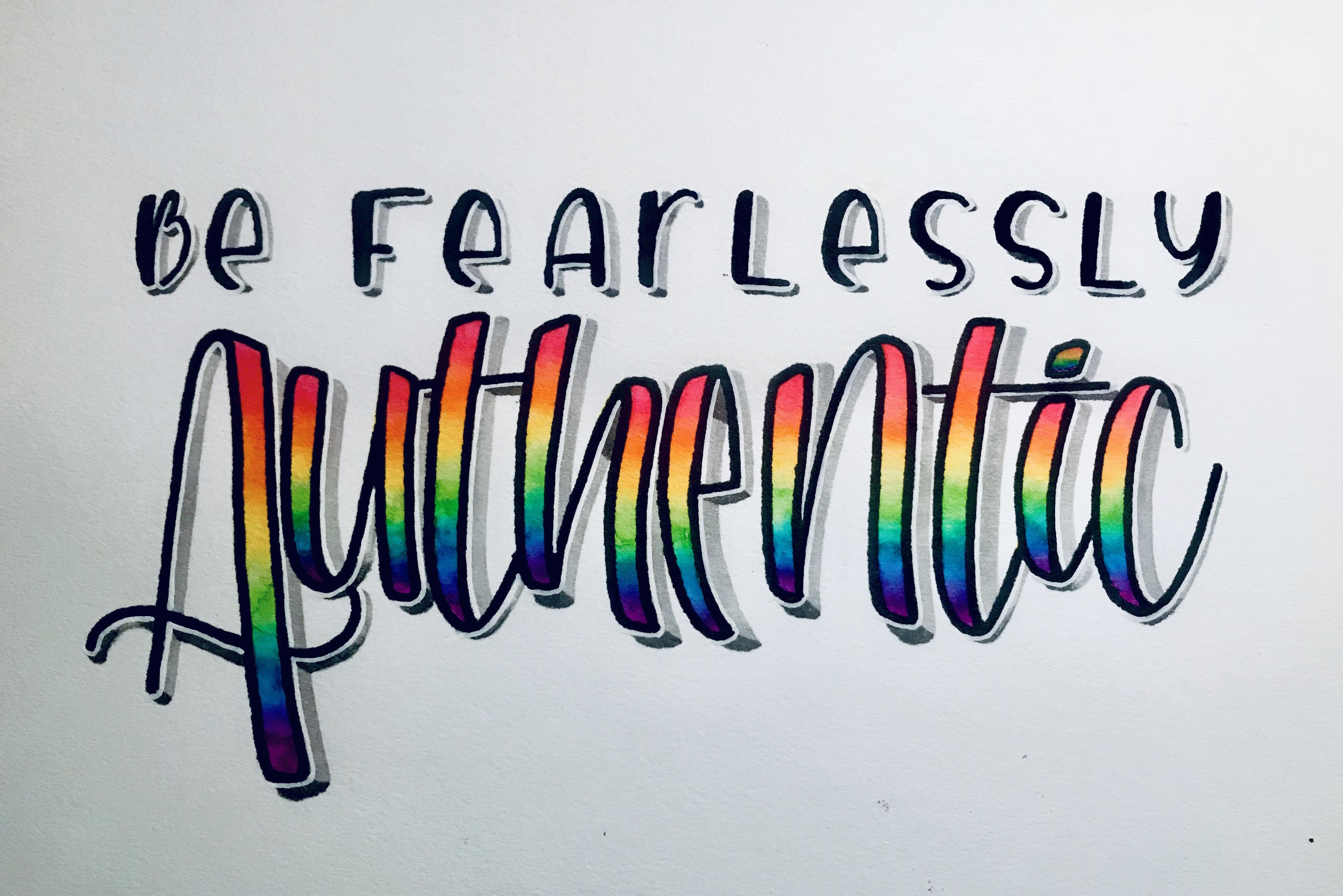 Be fearlessly authentic text illustrated by Mia Woo.