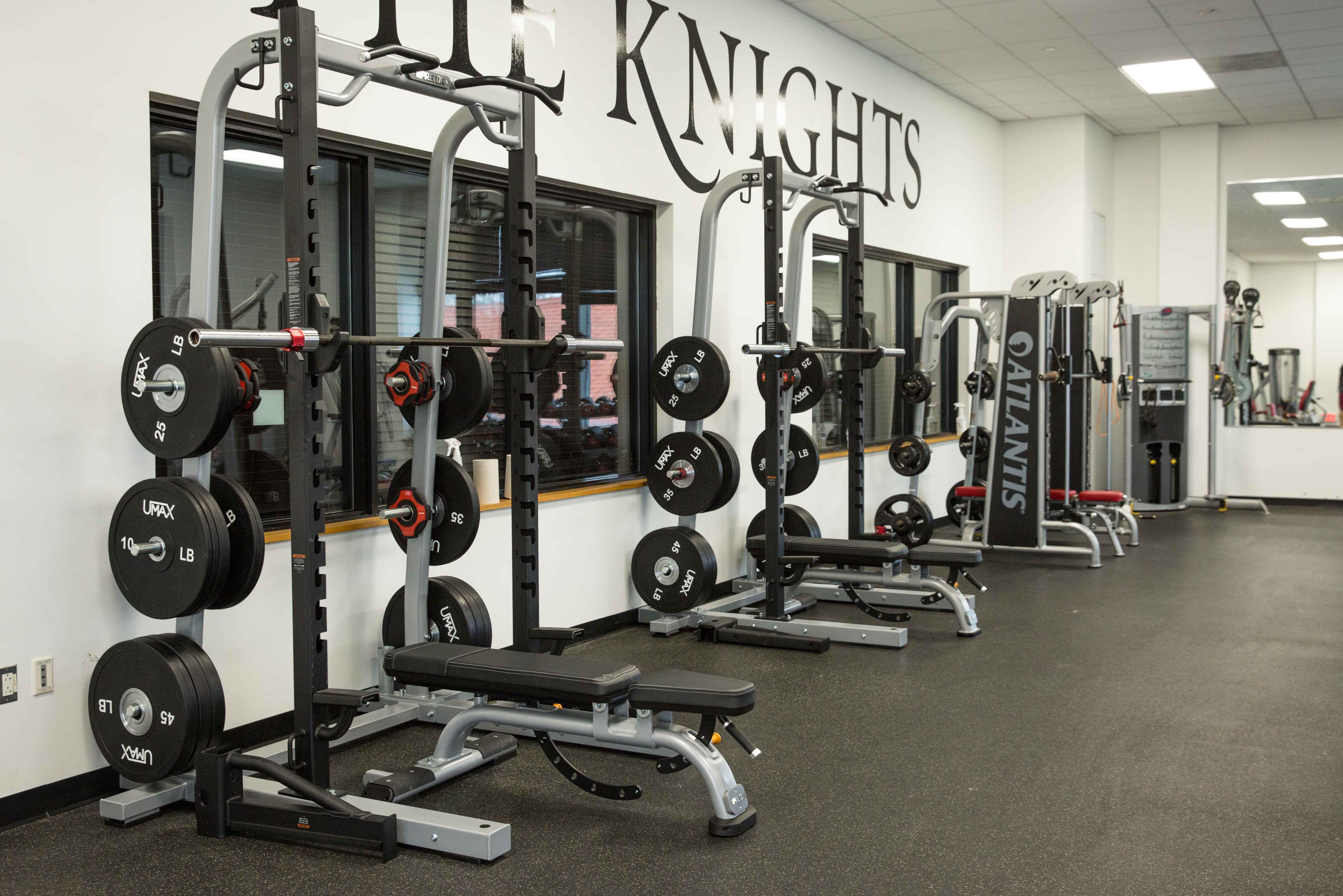 Image of new weightlifting equipment in the fitness center.