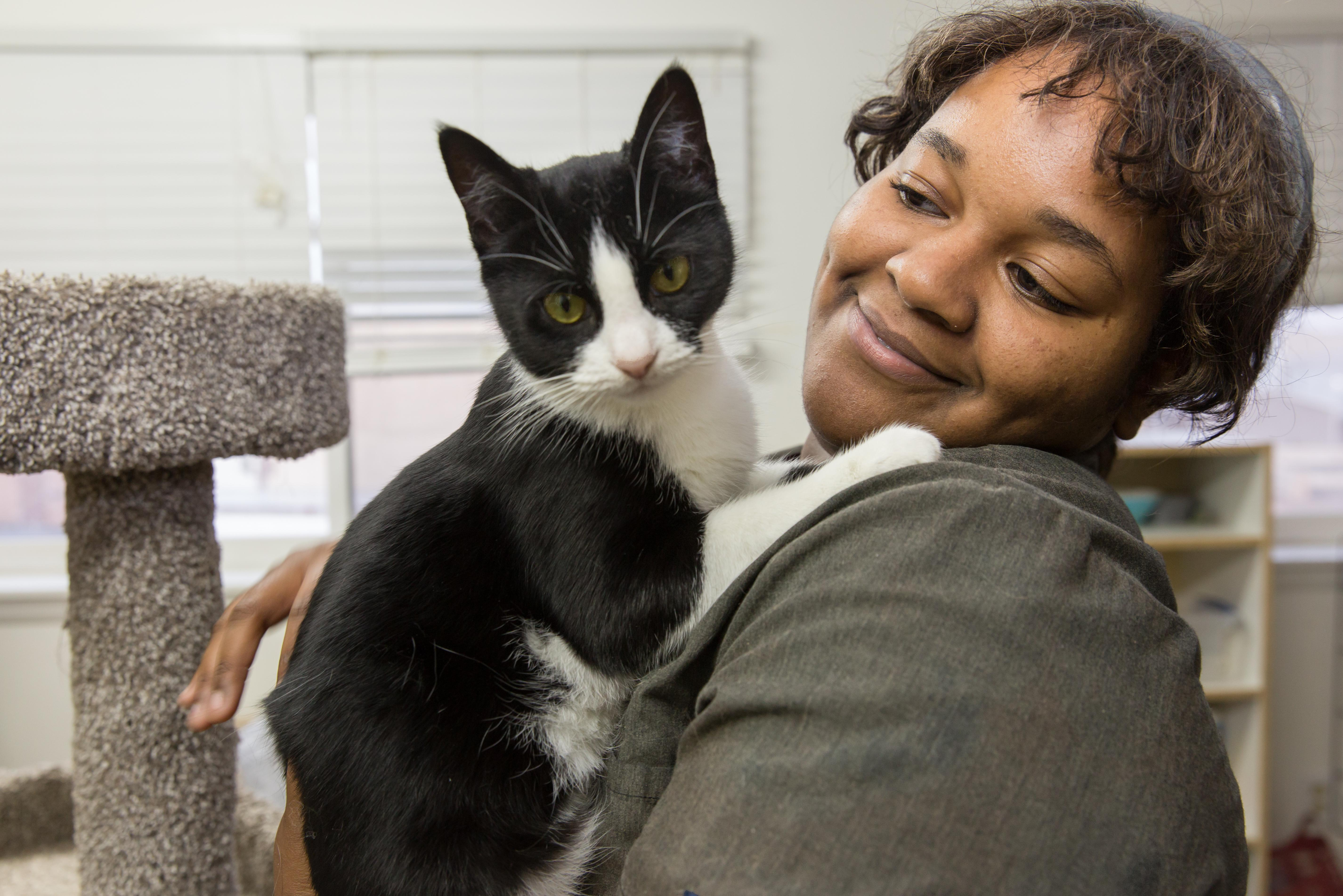 Linton with black and white cat