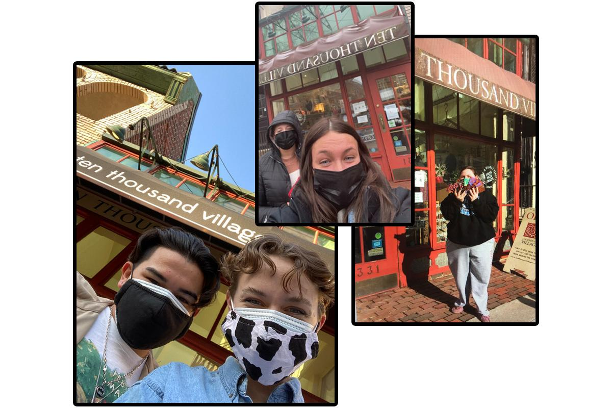 Three photos of Arcadia University students at the Ten Thousand Villages store