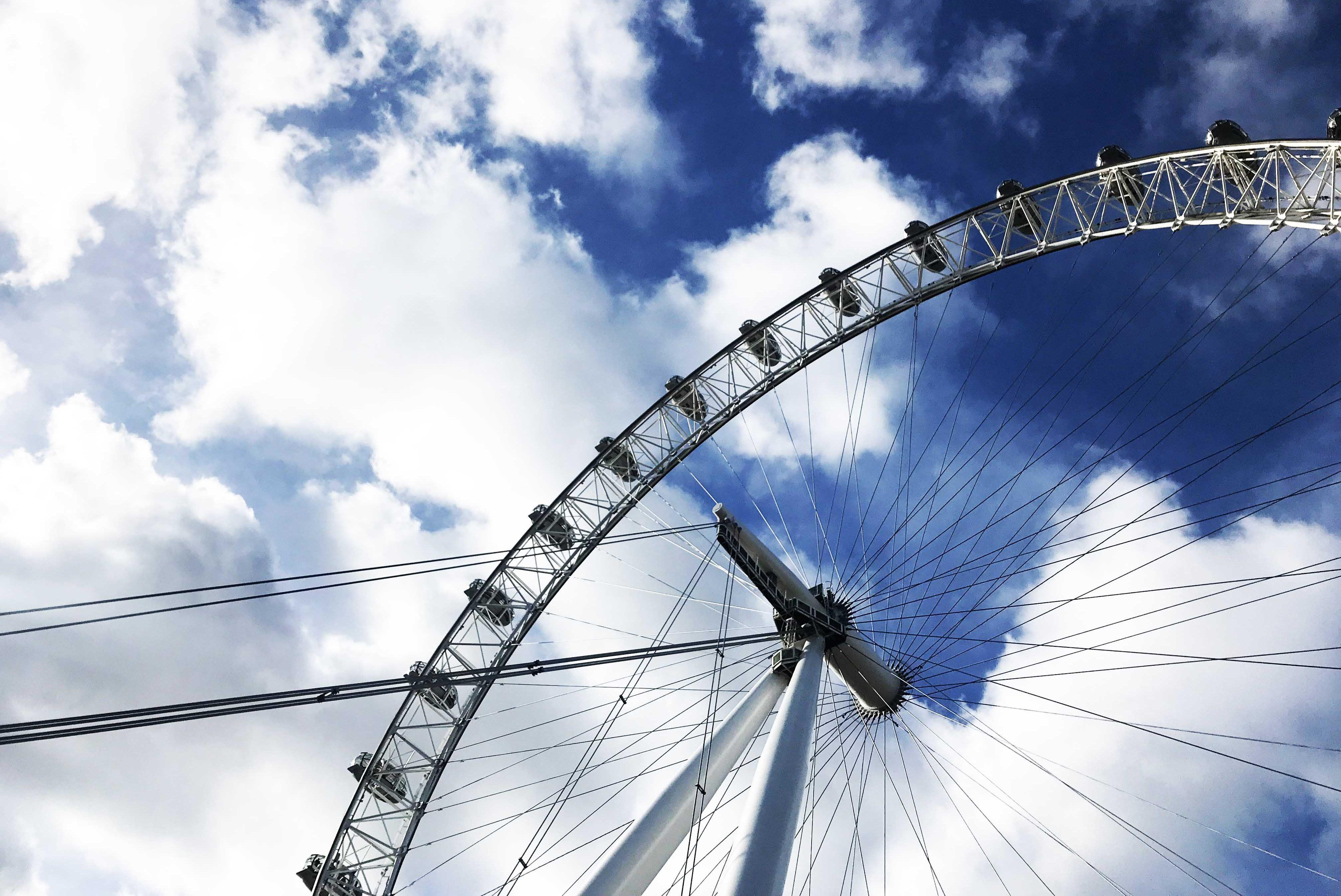 View of the London Eye with the sky behind it.