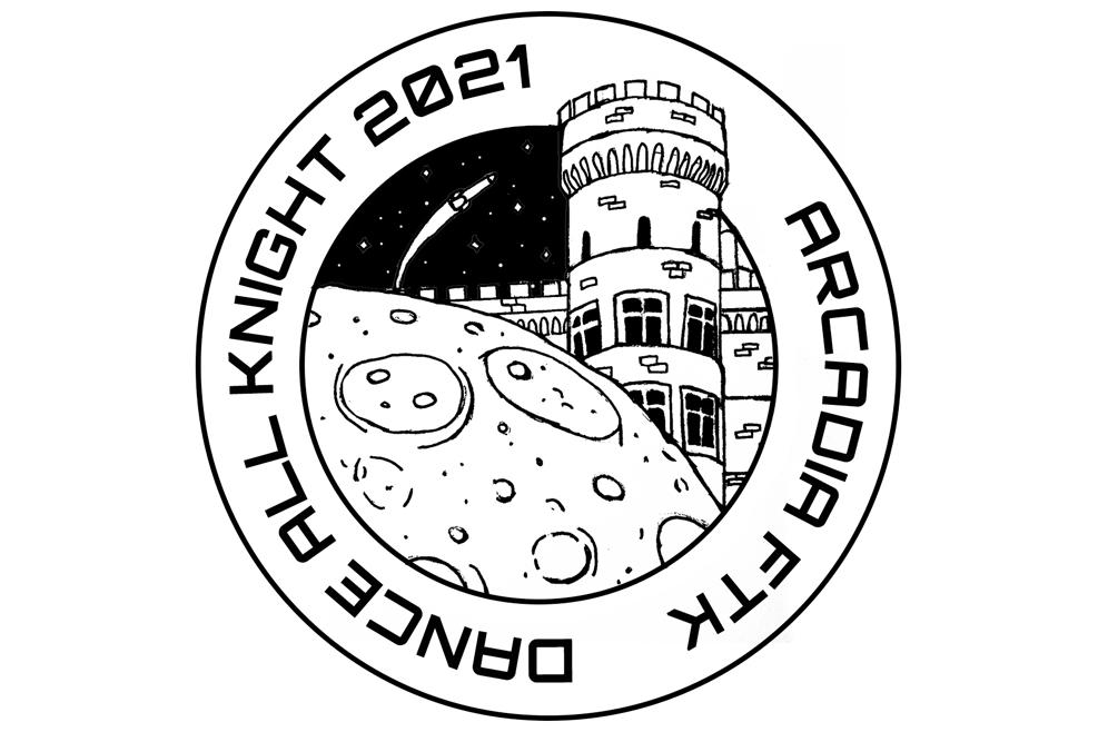 Reistle's Dance All Knight tshirt design of Grey Towers Castle and the moon