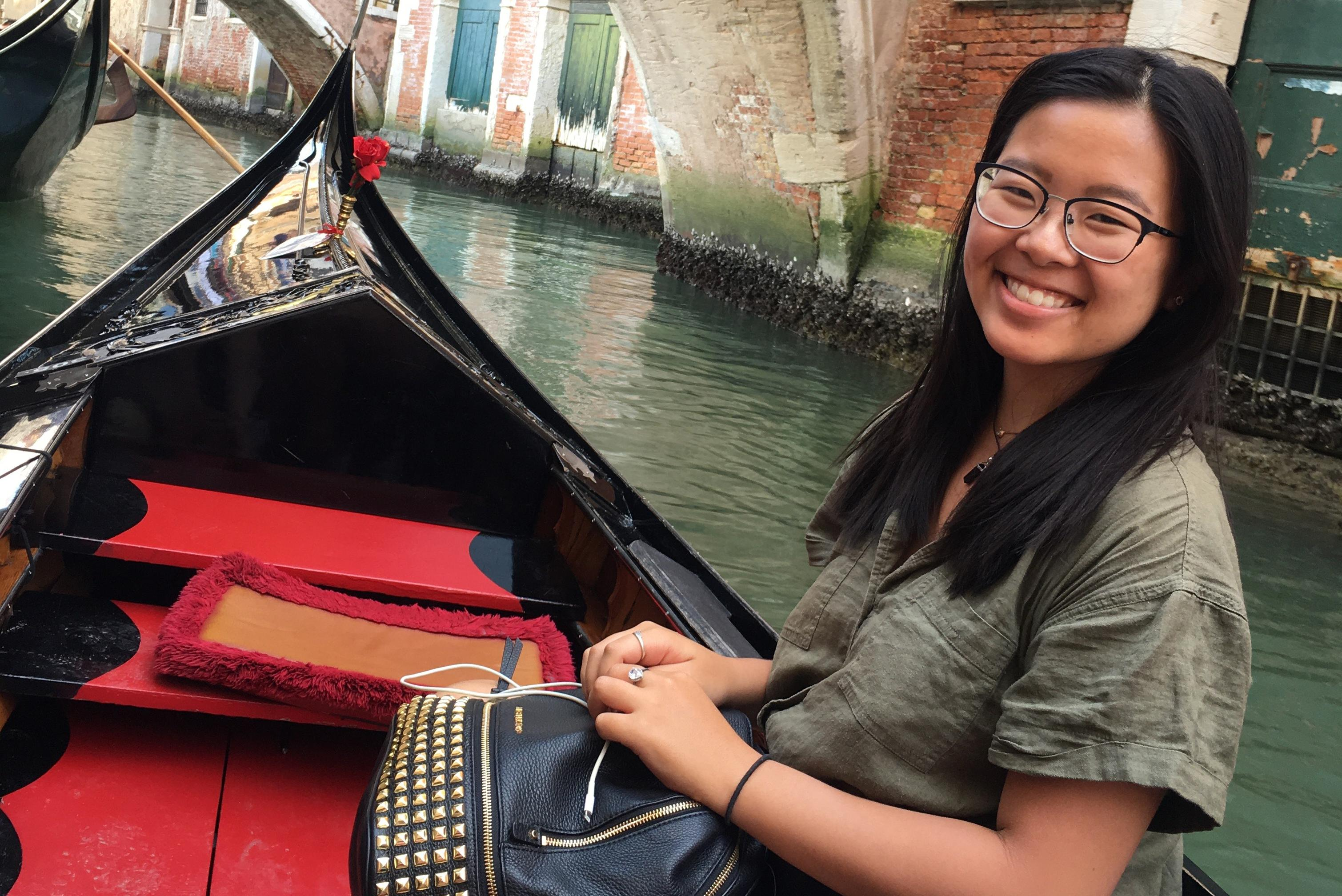 Qu '20 on a gondola in Venice, Italy