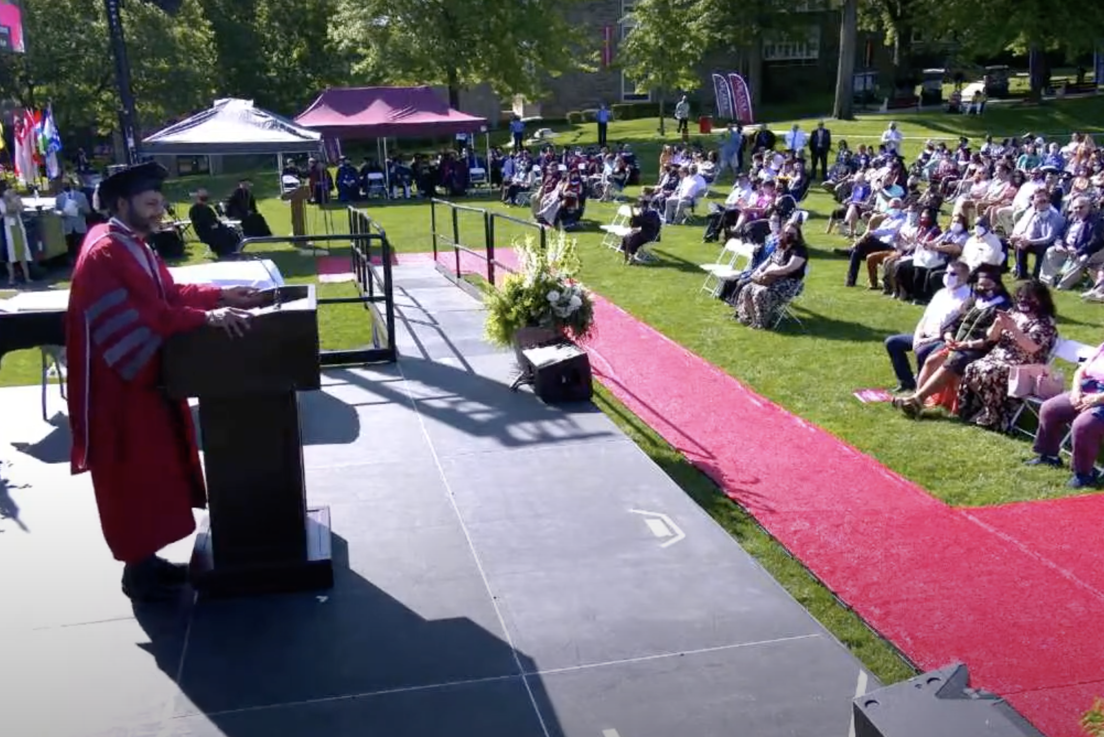 Arcadia University President Ajay Nair addresses the audience at Commencement