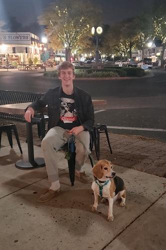 Because Arcadia blogger Anthony Devantier and his dog in Keswick Village