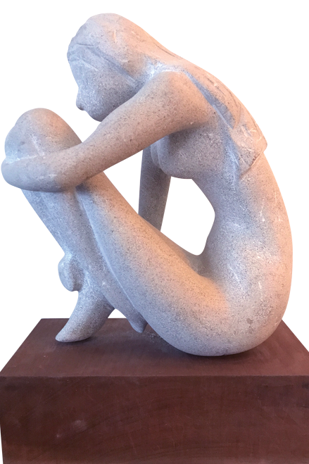 """Alone,"" sculpted by Faul during her husband's battle with eye cancer."