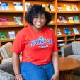 Daijah Patton in the library