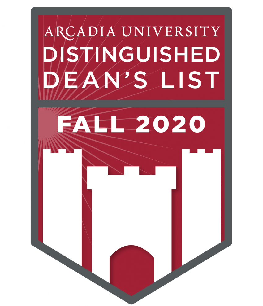 Arcadia Distinguished Dean's List Fall 2020