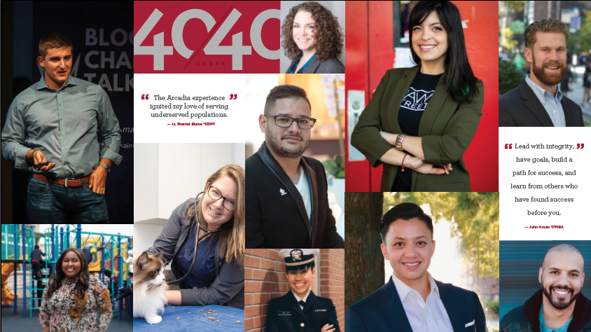 """Collage of Alumni featured in the 2020 """"40 Under 40"""" collection"""
