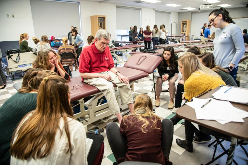 PT students working with patients