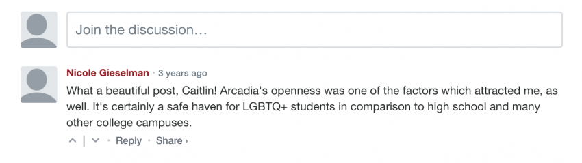 Example of a Because Arcadia comment from Nicole Gieselman