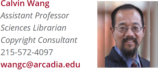 Contact information and picture of Sciences Librarian Calvin Wang