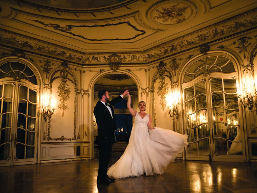 Couple dancing in the rose and mirror room at Arcadia Grey Towers Castle