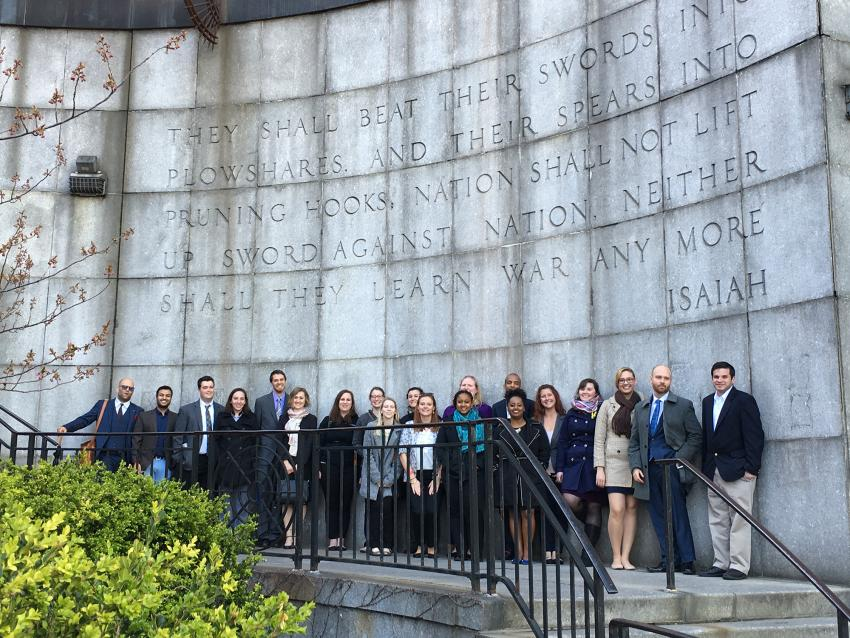 International Peace and Conflict students at the United Nations building