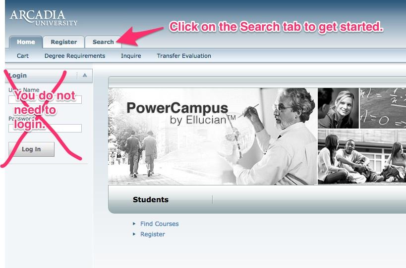 Where to find SelfService course search tab