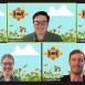 Screenshot of five Arcadia University students on the ICBSC team on Zoom