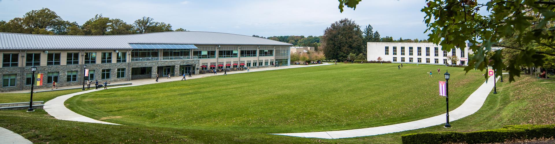 View of Arcadia's Commons, Haber Green and Landman Library