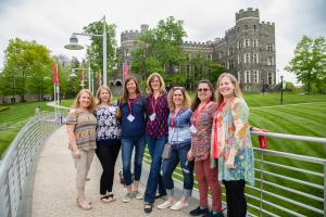 Alumni in front of Grey Towers Castle