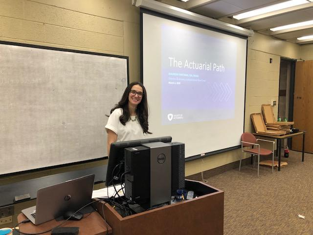 Maureen Whitman presenting at the Shadow an Actuary Day
