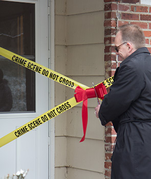 Ribbon cutting of the forensic science's crime house.