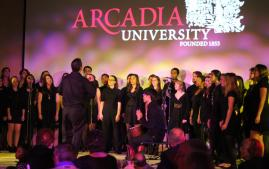 Arcadia's choir performing at an event