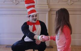 Young child participating in Arcadia's Dr. Seuss day.
