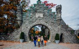 Students at the Moon Gate on Easton Road