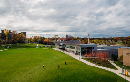 Aerial view of Arcadia University's Haber Green