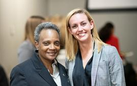 Taylor Raymond '16 and Chicago Mayor Lori E. Lightfoot.