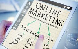 Image of tablet with a flowchart about online marketing.