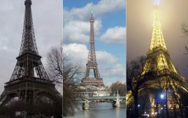 Collage of the Eiffel Tower in Paris, France.