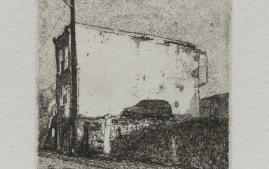 Manzella etching from City Blocks exhibition