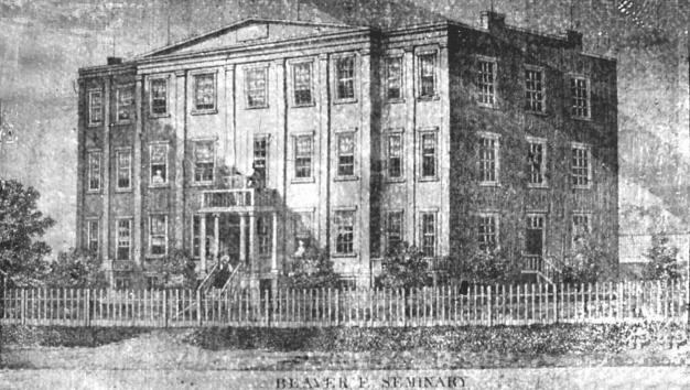 Old scanned photo of the 1853 Beaver Female Seminary Building