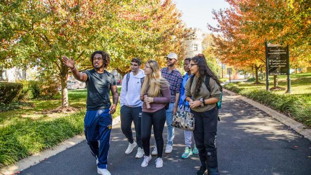 Students taking a tour of campus