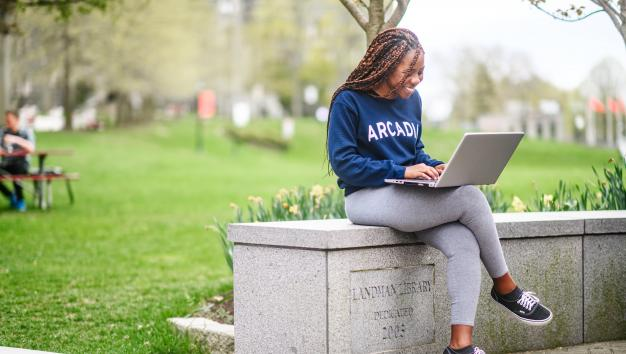 Student on laptop at Library