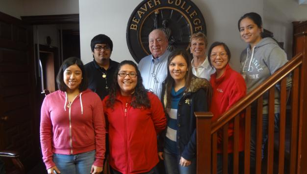 Walter and Rosemarie Blankley with students in Blankley Hall