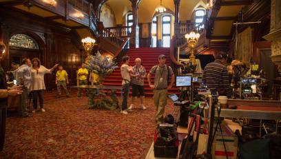 Inside of Grey Towers Castle set up as a scene from the movie Creed II