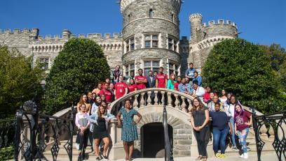 Gateway to Success students pose in front of Grey Towers Castle