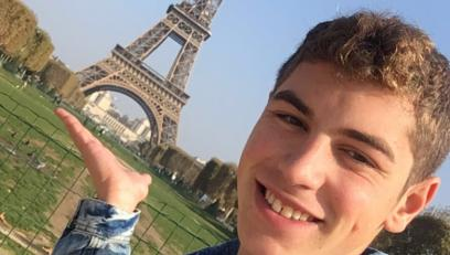 Nick Schiavo at the Eiffel Tower in Paris, France
