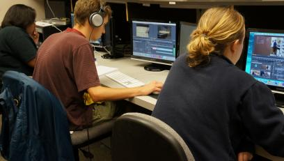 Students working on video projects