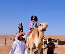 Students on camel