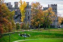 arcadia grey towers castle in the fall time
