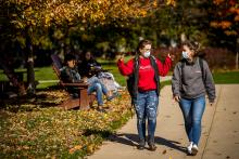 Arcadia students walking on campus during the fall